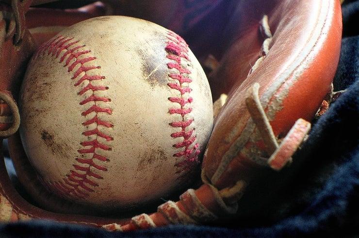 baseball in a baseball glove