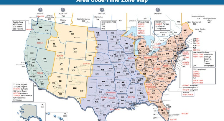 Area Codes Time Zones Us