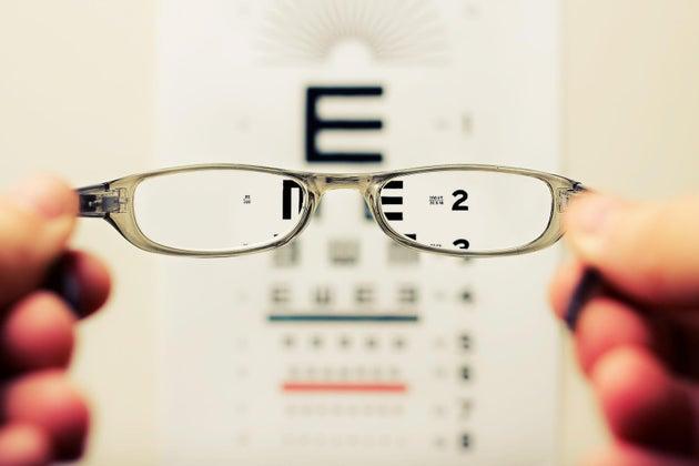 looking at eyeglasses