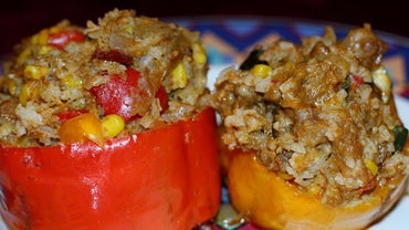 What Ingredients Are Included in Beef and Rice Stuffed Peppers?