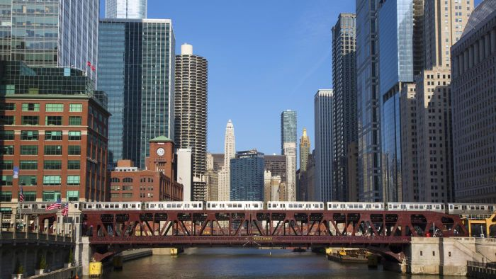 Where can you find a list of train times in Chicago?