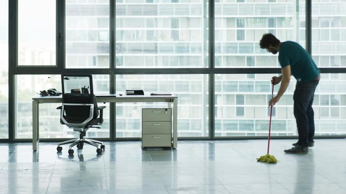 What tasks are common in a janitorial job?