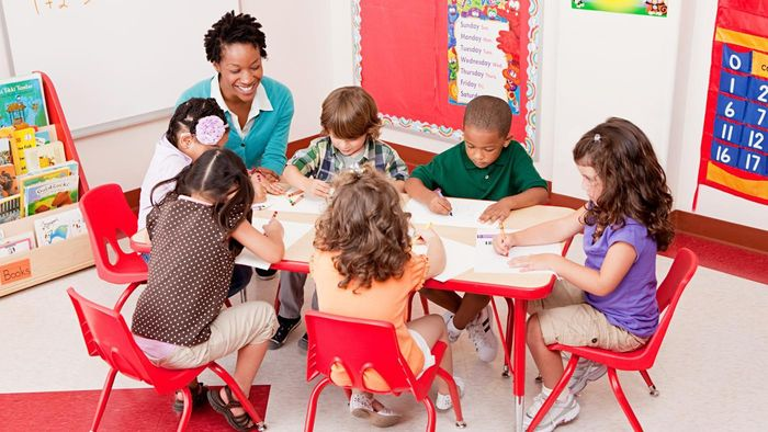 What types of furniture work well in a preschool classroom?