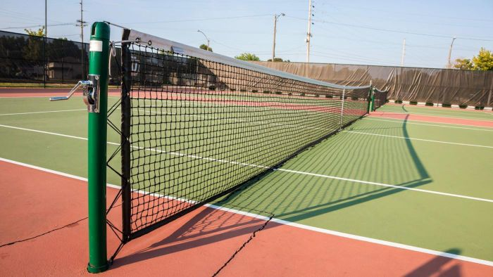 Where were some of the first public tennis courts built?