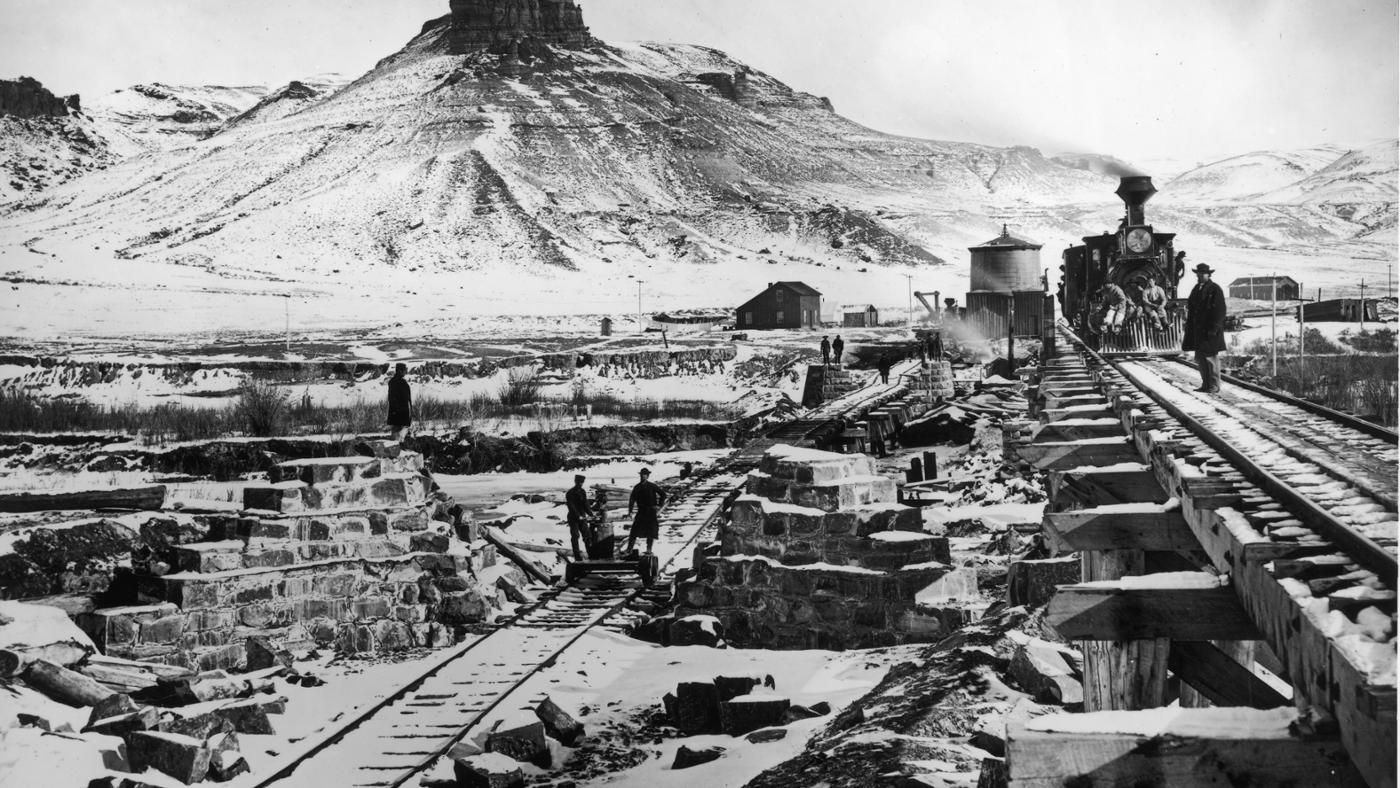 the first transcontinental railroad A transcontinental railroad is a contiguous network of railroads that cross a continent with terminals at different oceans or continental borders.