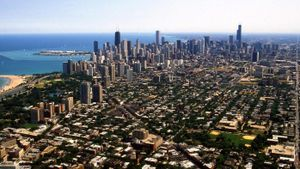 How large is Chicago in square miles?