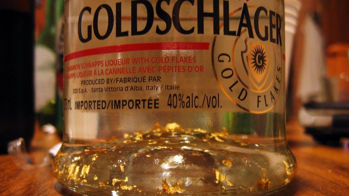 What are the gold flakes in Goldschlager liquor?
