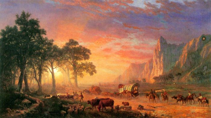 Why did people move west on the Oregon Trail?