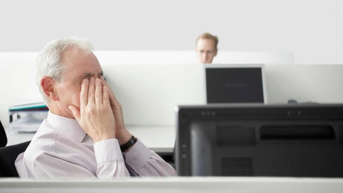 How do you avoid eye strain while working on a computer?