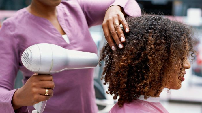 How do you blow dry African-American hair?