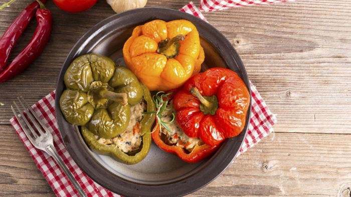 Where Can You Find Recipes Online for Beef and Rice-Stuffed Peppers?