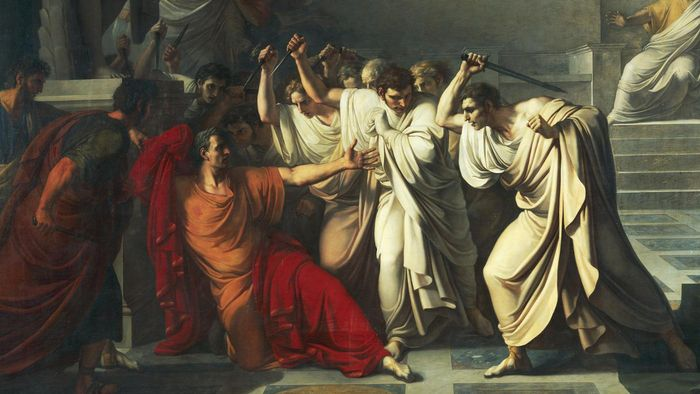 What did Caesar say to Brutus when Brutus stabbed him?