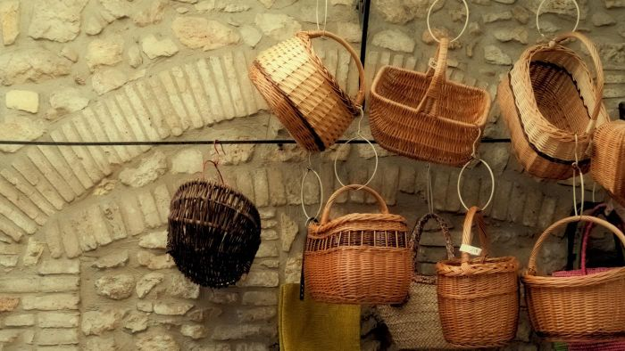 How do you hang wicker baskets?