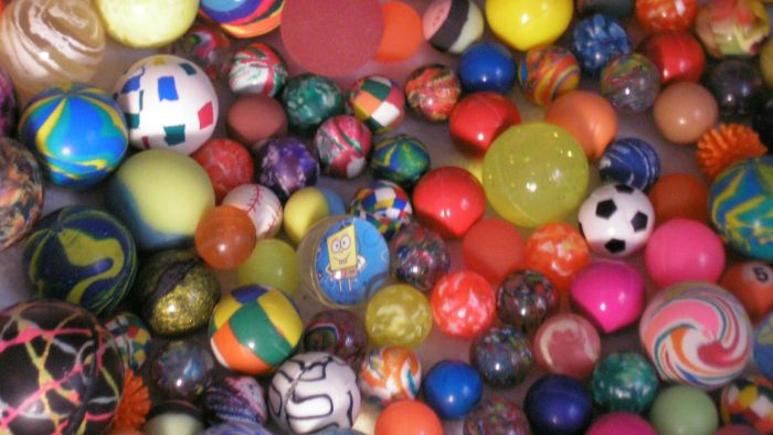 What materials are used in bouncy balls?