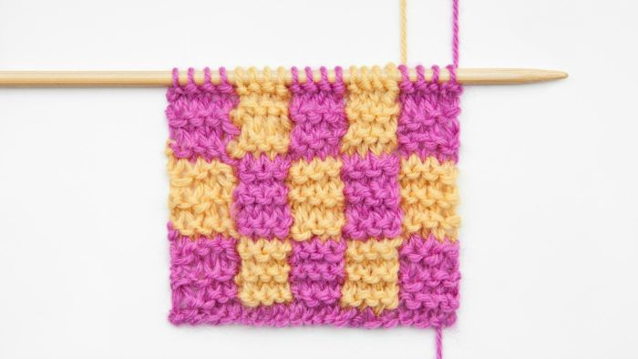 What are some types of knitting stitches?