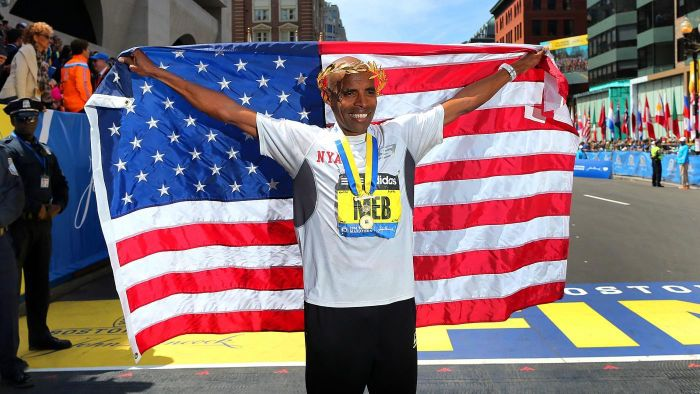 What does the winner of the Boston Marathon receive?