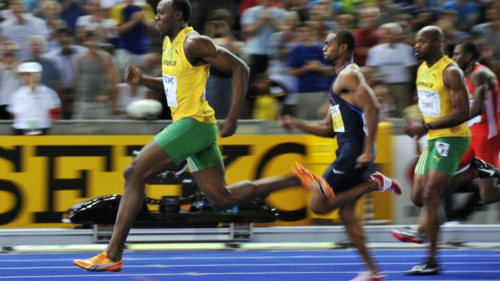 What is the world record for the 100-meter sprint?
