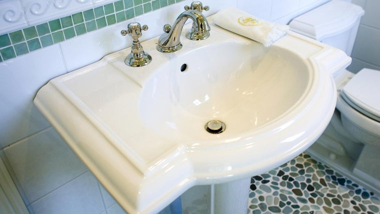 How Do You Install A Pedestal Sink Over A Tile Floor Referencecom