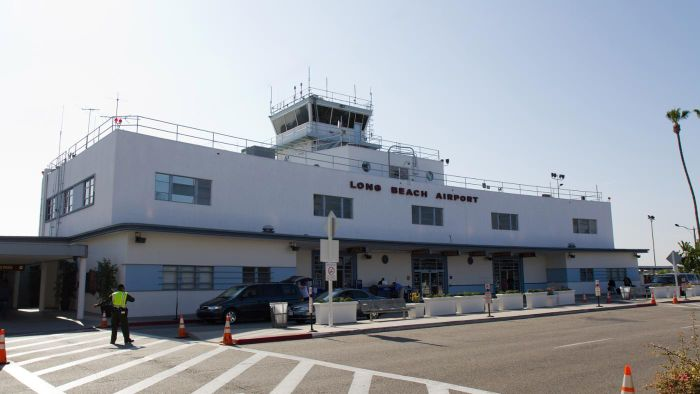 What kind of parking is available at Long Beach Airport?